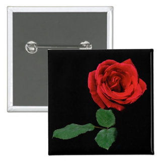 Single Red Rose Button