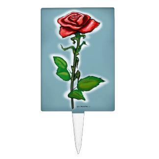 Single Red Rose Cake Topper