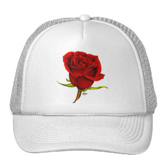 Single Red Rose Cap Trucker Hat