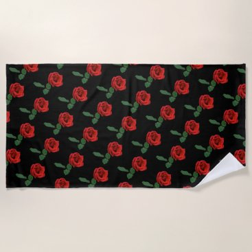 Beach Themed Single Red Rose Floral Beach Towel