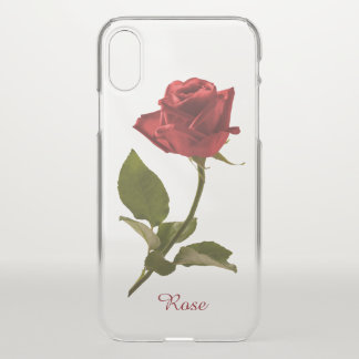 Single Red Rose Floral Photography - Clear BG iPhone X Case