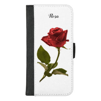 Single Red Rose Floral Photography Cut Out iPhone 8/7 Plus Wallet Case