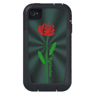 Single Red Rose Green Stem Leaves Customize Name iPhone4 Case