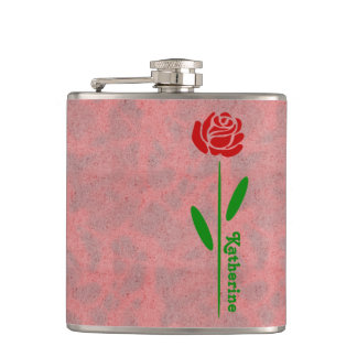 Single Red Rose Green Stem Leaves Customize Name Flasks
