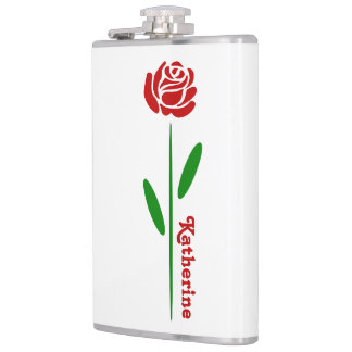 Single Red Rose Green Stem Leaves Customize Name Hip Flask