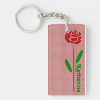 Single Red Rose Green Stem Leaves Customize Name Keychain