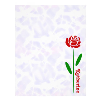 Single Red Rose Green Stem Leaves Customize Name Letterhead