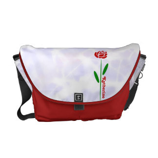 Single Red Rose Green Stem Leaves Customize Name Courier Bags