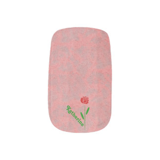 Single Red Rose Green Stem Leaves Customize Name Minx® Nail Art