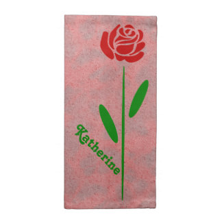 Single Red Rose Green Stem Leaves Customize Name Napkin