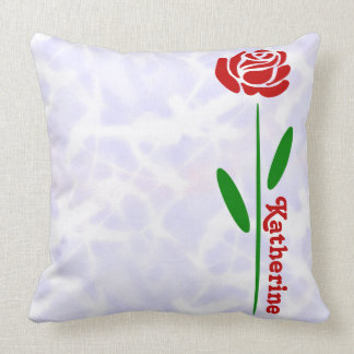 Single Red Rose Green Stem Leaves Customize Name Throw Pillows