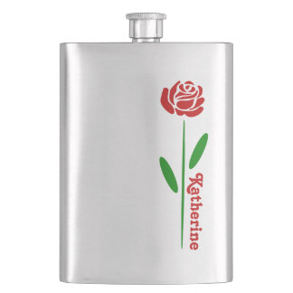 Single Red Rose Green Stem Leaves Customize Name Flask