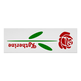 Single Red Rose Green Stem Leaves Customize Name Posters