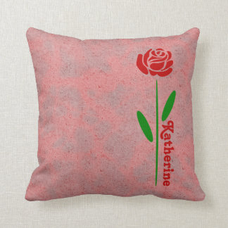 Single Red Rose Green Stem Leaves Customize Name Throw Pillow