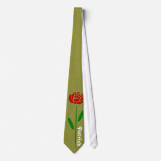 Single Red Rose Green Stem Leaves Customize Name Tie