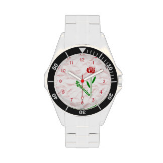 Single Red Rose Green Stem Leaves Customize Name Wristwatch