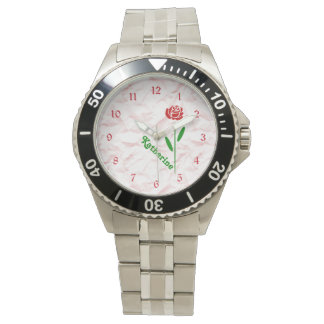 Single Red Rose Green Stem Leaves Customize Name Watch