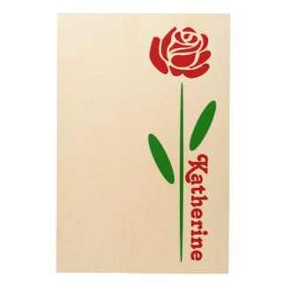 Single Red Rose Green Stem Leaves Customize Name Wood Prints