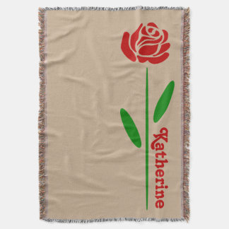 Single Red Rose Green Stem Leaves Customize Name Throw