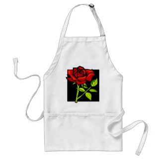 Single Red Rose in Full Bloom Adult Apron