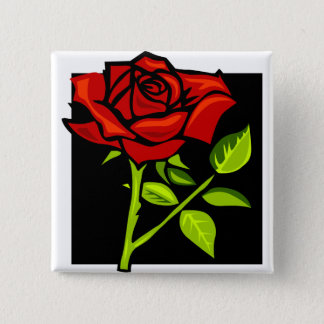 Single Red Rose in Full Bloom Pinback Button