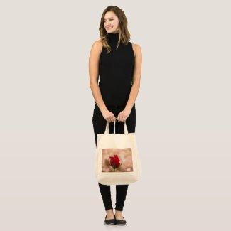Single Red Rose Large Tote Bag