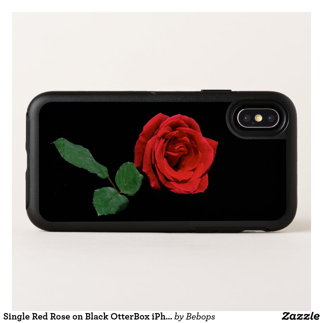 Single Red Rose on Black OtterBox iPhone X Case