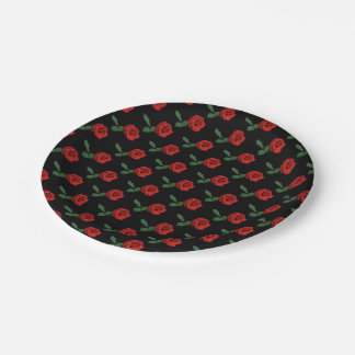 Single Red Rose Paper Plates