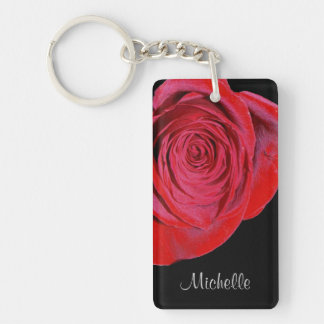 Single Red Rose Personalized Double-Sided Rectangular Acrylic Keychain