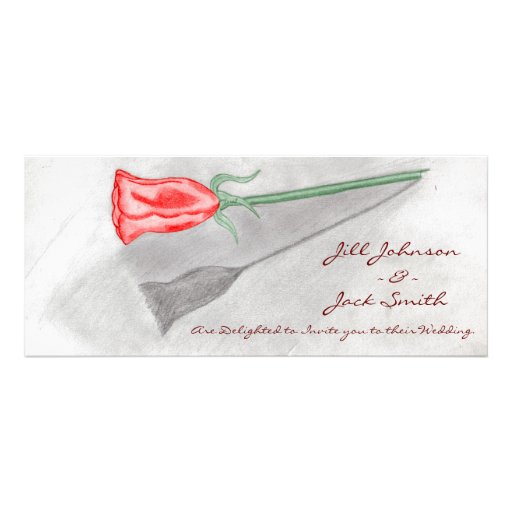 Single Red Rose Personalized Invitation