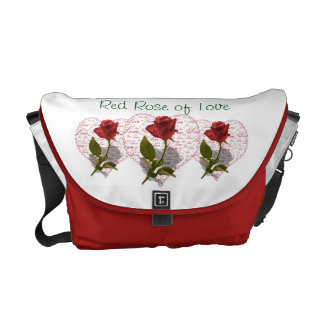 Single Red Rose Photo Red Heart Love Courier Bag