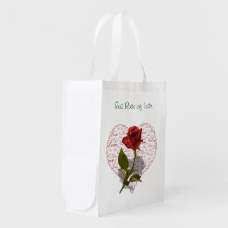 Single Red Rose Photo Red Heart Love Reusable Grocery Bag
