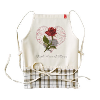 Single Red Rose Photo Red Heart Love Zazzle HEART Apron