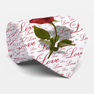 Single Red Rose Photo - Valentine Love Typography Tie