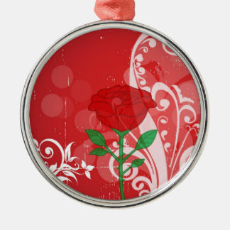 Single Red Rose Pictures Design Metal Ornament