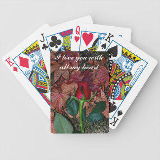 Single Red Rose Playing Cards with 'I love you'