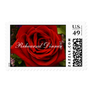 Single Red Rose - Rehearsal Dinner Postage
