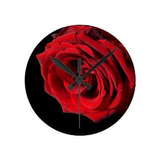 Single Red Rose Round Clock