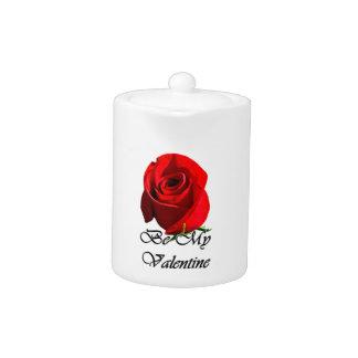 single red rose teapot