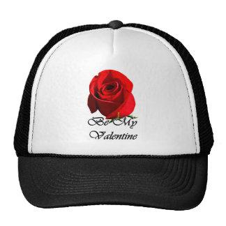 single red rose trucker hat