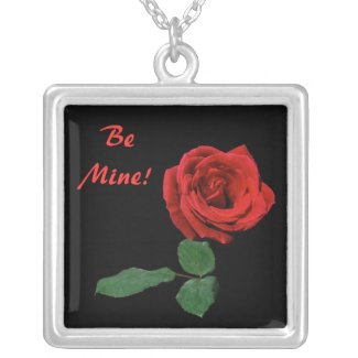 Single Red Rose Valentine Silver Plated Necklace