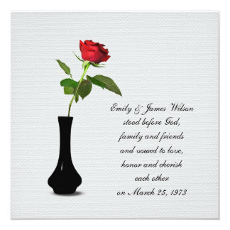 Single Red Rose vow renewal Invitation