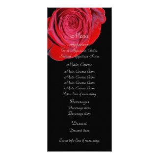 Single Red Rose Wedding Menu Custom Rack Cards