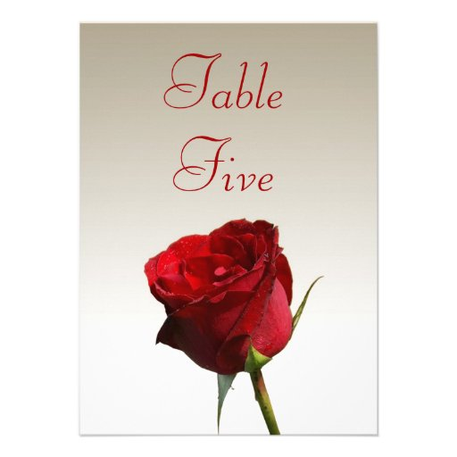 Single Red Rose Wedding Table Number Cards