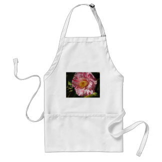 Single red streaked white flower of Camellia Adult Apron
