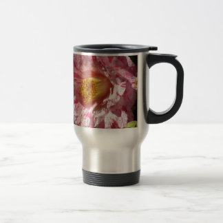 Single red streaked white flower of Camellia Travel Mug