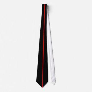 Single Red Stripe on Black Tie
