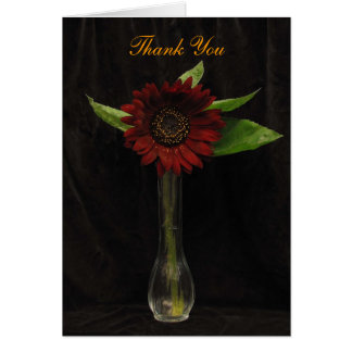 Single Red Sunflower Thank You Stationery Note Card