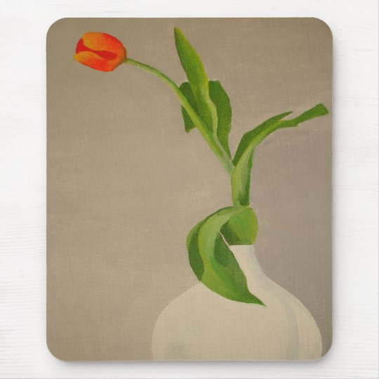 Single Red Tulip In A White Vase Mouse Pad