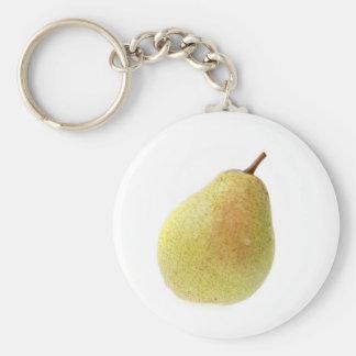 Single ripe pear key chains